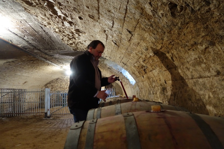 Gilles Paris in his cellar in Fleurie